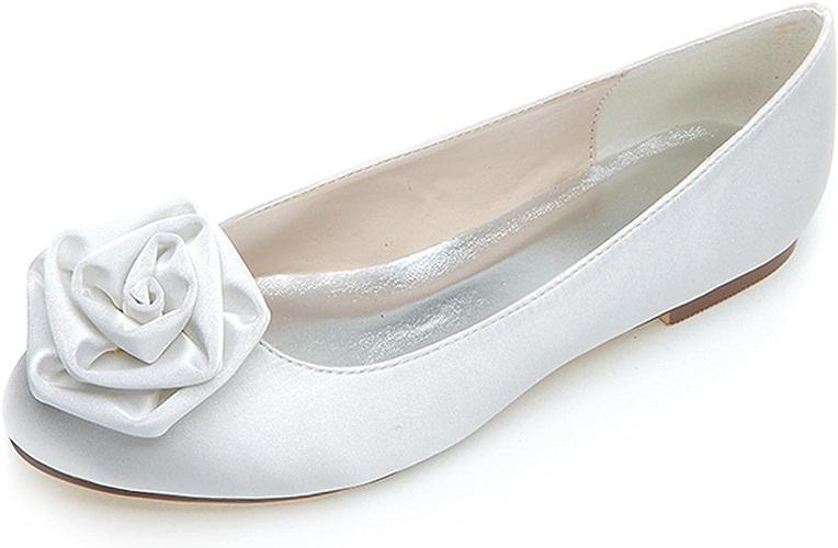 Elobaby Femmes de Mariage Peep Toe Fleur Ballet Chaussures de mariée Plates Mariage Confort Talons Chunky Talon