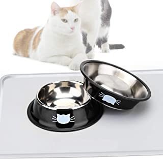 Cat Bowls Stainless Steel Pet,FUBARBAR Cat Bowl Kitten Rabbit Cat Dish Bowl with Cute Cats Painted cat Food Dish Easy to C...