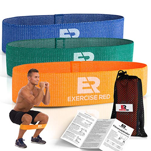 Exercise Red | Fitnessband 3er-Set | Textil, Stoff | 3 Widerstandsstufen | Widerstandsbänder kurz 6x32 cm | Mini Trainingsbänder für Sport, Pilates, Crossfit, Kafttraining | Elastikband | Sportband