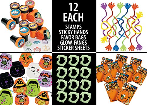 60 Piece Halloween Fun Toy Set Includes: (12) Halloween Stamps (12) Glow in The Dark Fangs (12) Sticky Hands (12) Make A Pumpkin Craft Stickers & (12) Halloween Draw String Goody Bags