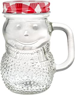 Mini Mason Jars 5 Ounce - Snowman Decorative Glass Bottle with Classic Checkered Lid - Cute Condiment Bottles and Kitchen Supplies (Red, 4)