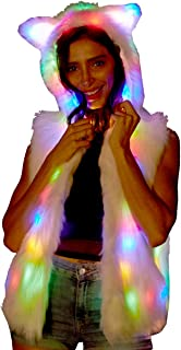 Women Girls Light Up Faux Fur LED Hooded Vest Jacket Party Clothes