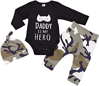 Baorong Newborn Baby Boys Girls Outfits Cotton Letter Print Short Sleeve Romper Camo Pant Hat 3 Piece Clothes Set