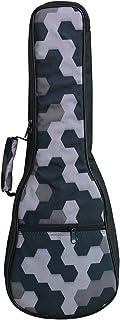 HOT SEAL 10MM Sponge Padding Durable Colorful Ukulele Case Bag with Storage (21 in, Black Honeycomb)