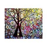 Pintura Digital De Bricolaje,Abstracto Dream Tree 16 X 20 Pulgadas Canvas Arts Craft Pintura para Niños Estudiantes Adultos Principiantes con Pinceles Y Pigmento Acrílico, Marco De Bricolaje