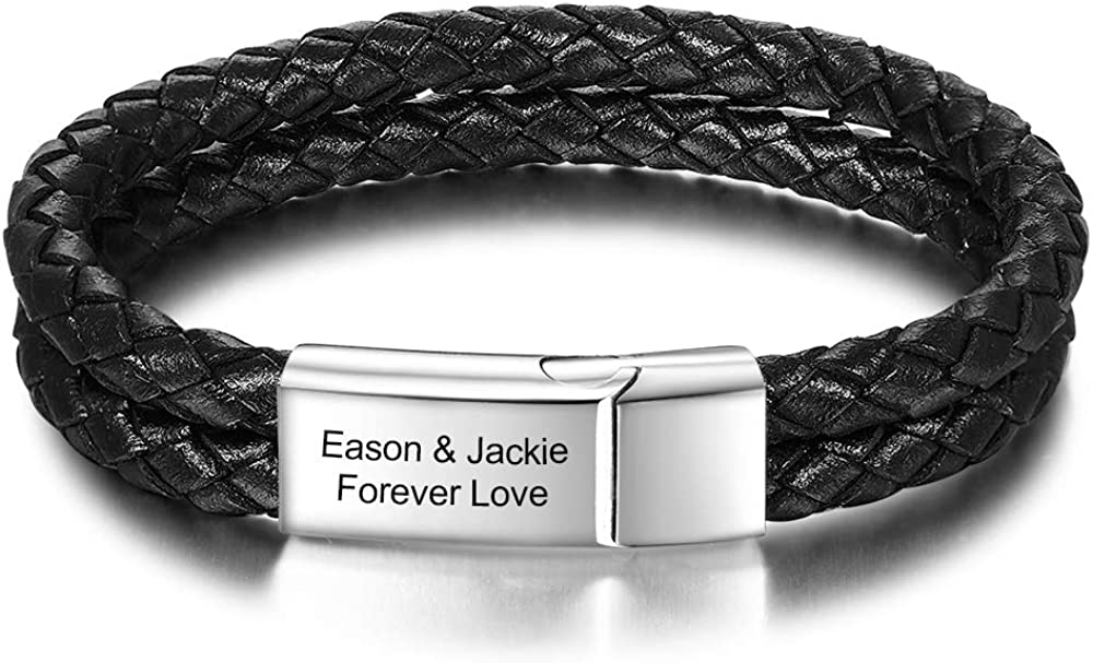 Direct stock discount Personalised Infinity Love Leather Mens Bracelet T Engraved Name Arlington Mall
