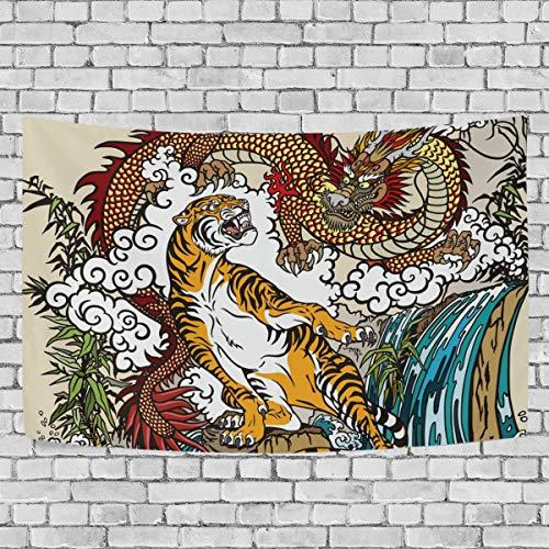 PINLLG Wandteppich, chinesischer Drache, Tiger, Tier-Wandbehang für Zuhause, Schlafzimmer, Wohnzimmer, Multi, 90x60(in)