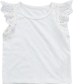 73d07880efee5 Baby Girls Ruffle Lace Sleeveless Tank Tops Basic Organic Tees T-Shirts