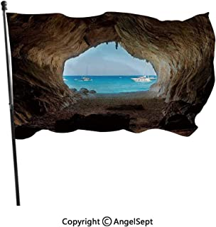 AngelSept Polyester Garden Flag House Banner,Hidden Hole Spot in The Rocks by The Ocean Exotic Sunset Reflection Sky Scene Blue Grey,3x5 ft,Decoration Flag for Wedding Party Home