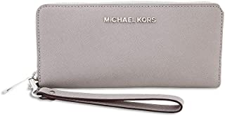 Michael Kors Jet Set Travel Leather Continental Wristlet PEARL GREY