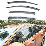 PLDDE 4pcs Smoke Tint With Chrome Trim Outside Mount Tape On/Clip On Style PVC Sun Rain Guard Window Visors Fit 16-20 Honda Civic 4-Door Sedan