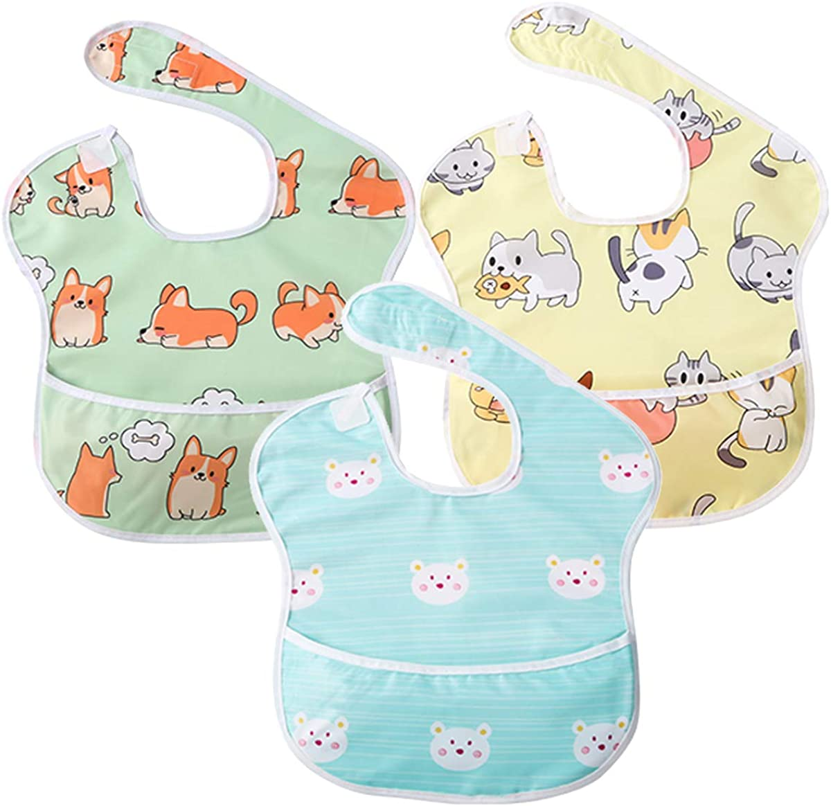 Waterproof Feeding Bibs for Baby Boy Toddlers with Pocket,3 PCS (6-36 Months)