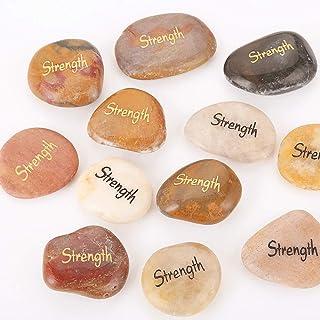 RockImpact 12pcs Strength Stone Engraved Inspirational Amulets Motivation Encouragement Stones Natural River Rock Word Stone Reiki Healing Inspiring Stones Wholesale Set of 12, Strength Rock