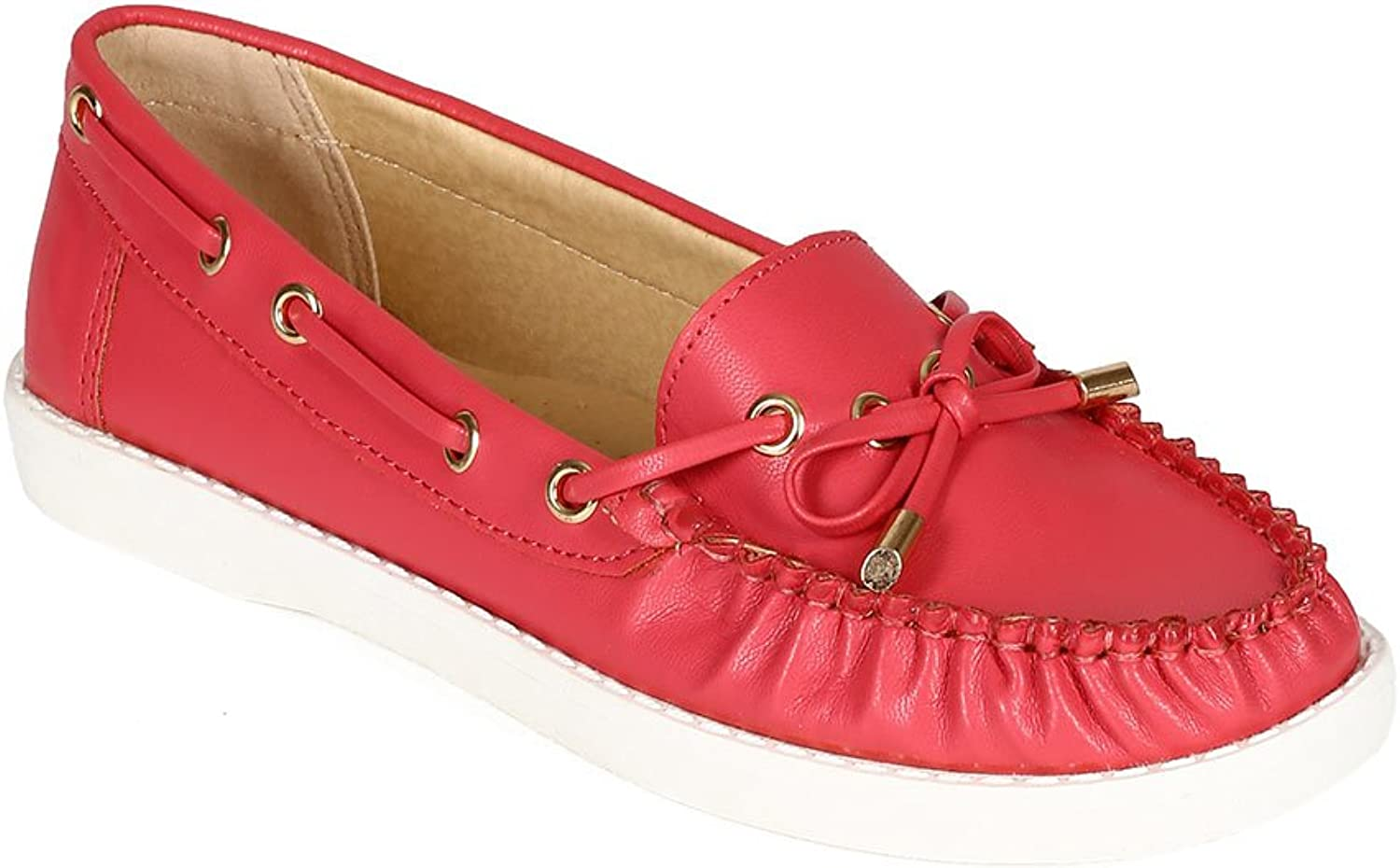 Nature Breeze CC29 Women Leatherette Round Toe Ribbon Bow Boat Loafer - Coral