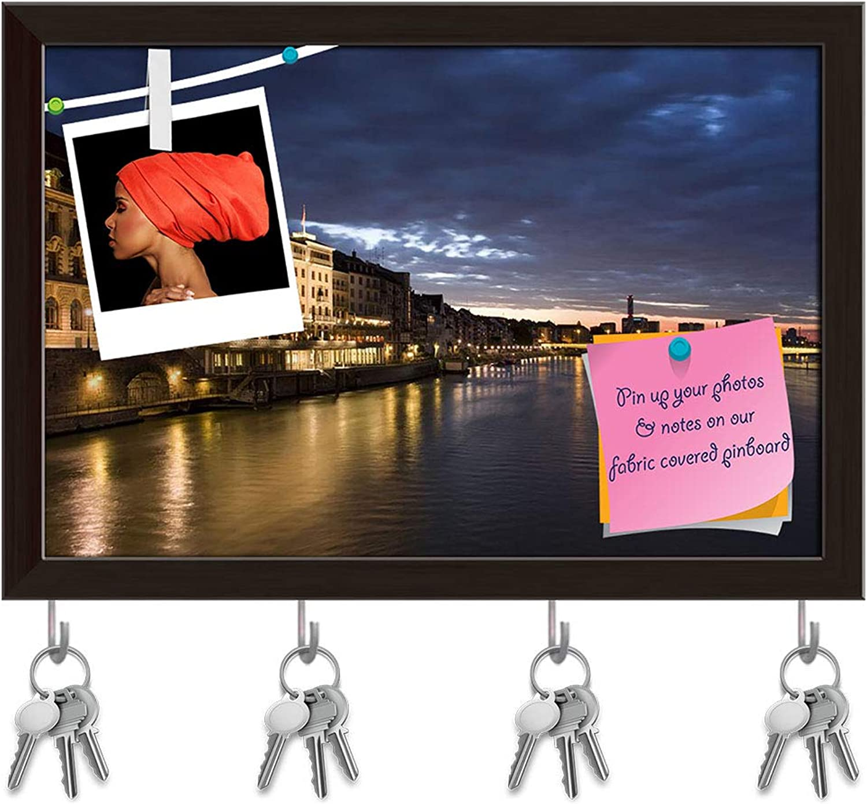 Artzfolio Old Basel, Swiss in Dusk Time Key Holder Hooks   Notice Pin Board   Dark Brown Frame 17.7 X 12Inch