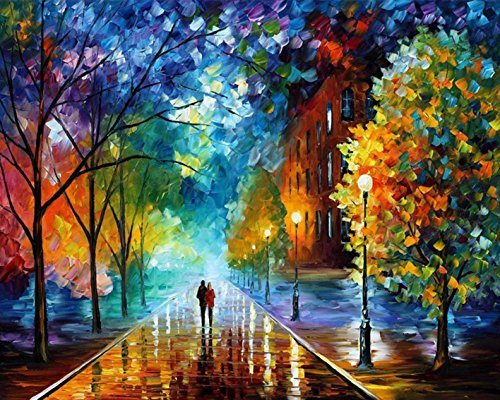 Paint by Number Kit,DIY Oil Painting Drawing Romantic Street Lovers Walks in The Street Canvas with Brushes Christmas Decor Decorations Gifts - 16 * 20 inch Frameless