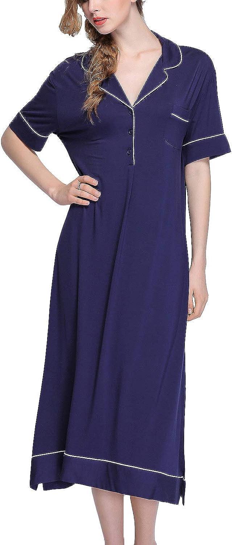 Lu's Chic Women's Button Down Nightgowns Soft Short Sleeves Nightdress V Neck Sleepshirts
