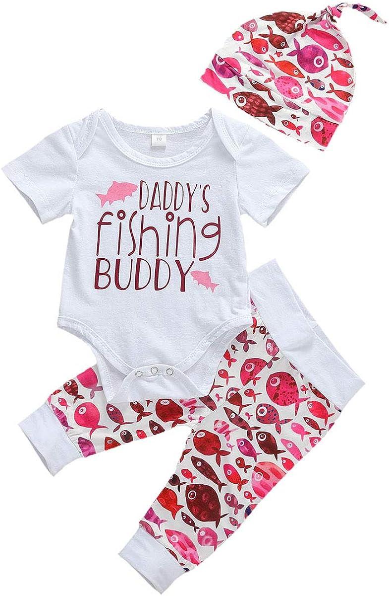 Muasaaluxi Newborn Infant Baby Girls Boys Daddy's Fishing Buddy Romper Bodysuit Fish Pants Hat 3Pcs Summer Outfit