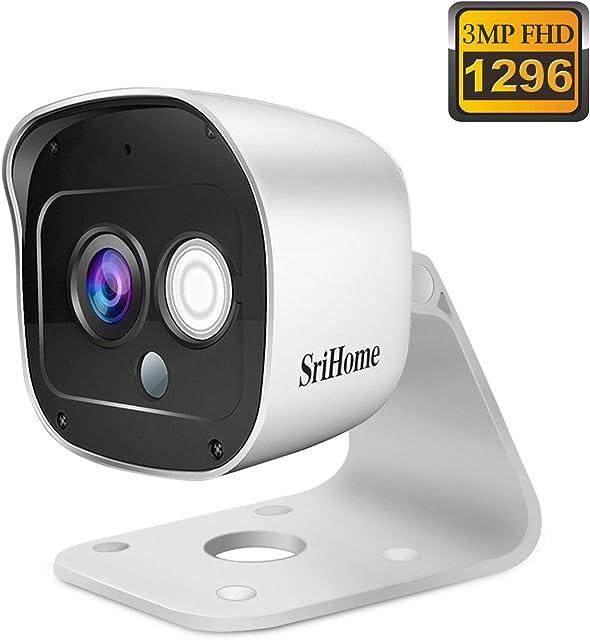 Cámara de Vigilancia WiFi SriHome SH029 Cámara IP 1296P Interiores y Exteriores Cámara de Seguridad Inalámbrico con Visión Nocturna Impermeable IP66 Detección de Movimiento Audio Bidireccional