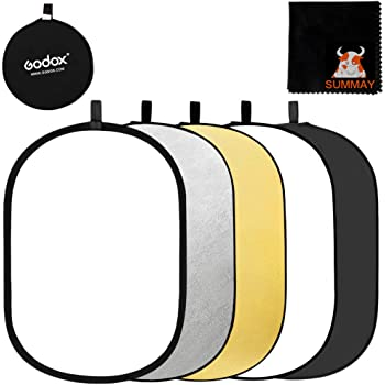 Gold MAODATOU Photographic Reflector 80cm 2-in-1 Portable Collapsible Multi Disc Light Reflector Round 32-inch Foldable Reflector Photography with Bag for Any Photography Situation Silver