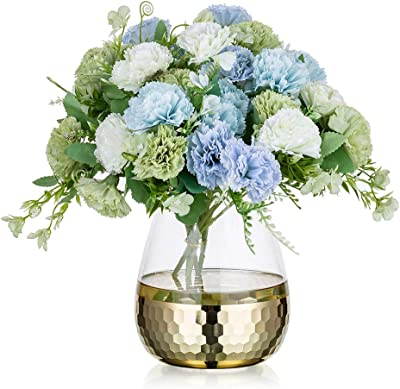 Glass Flower Arrangement Vases with Golden Honeycomb Floral Vase Decor Dining Table Centerpieces Gifts for Wedding Housewarming Party, 2#