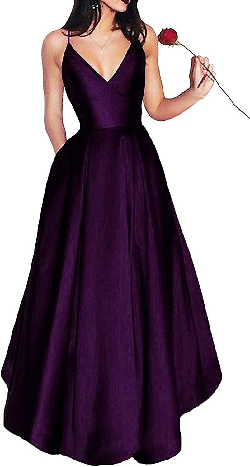 XingMeng Simple Spaghetti Long Prom Dress Backless Satin Evening Gown