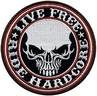 Hot Leathers Live Free Ride Hardcore Skull Patch (4