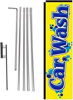 Car Wash Rectangle Feather Banner Flag Sign with Pole Kit and Ground Spike for Car Wash, Auto Detail, and Hand Wash Business Owners
