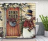 Christmas Shower Curtain, Snowman Decor Fabric Shower Curtain Set Art Print Bathroom Tub