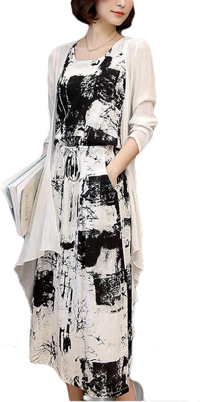 Thx Style Women's Casual Scoop Neck Sleeveless Maxi Dress Pockets Cardigan