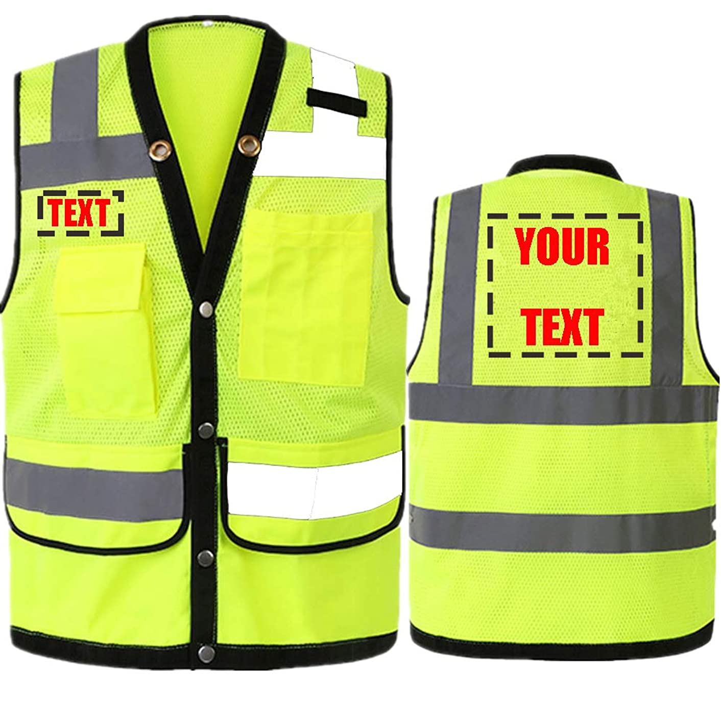 4 Large Pockets Class 2 High Visibility Safety Vest With Snap Button Front Safety Vest With Reflective Strips.Meets ANSI/ISEA Standards (Neon Yellow L)