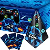 3 Pieces Video Game Table Cover Blue Video Game Birthday Decoration Game Theme Plastic Tablecloth Party Supplies for Boys Girls Kids Player Geek Party Decorations, 54 x 108 Inches