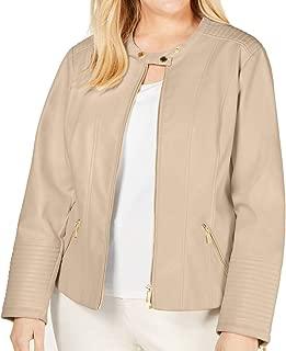 Womens Plus Zipper Pocket Long Sleeve Jacket Beige 3X