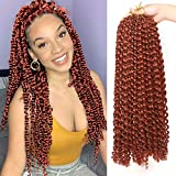 Leeven 18 Inch Water Wave Passion Twist Crochet Braids Hair for Butterfly Locs Crochet Hair Hot Water Setting Copper Red Passion Twists Braiding Hair 6 Pcs Long Bohemian Braids Hair 350#