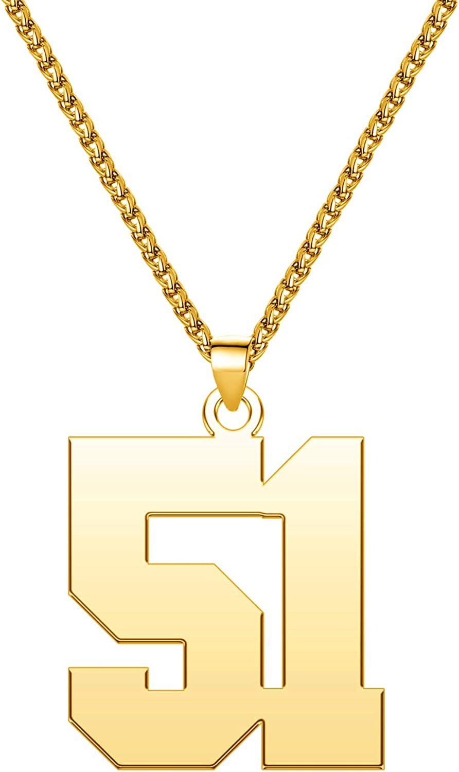 LuxglitterLin Men 18K Gold Super popular specialty store Plated Initial Number 0-99 Superior Sports Nec