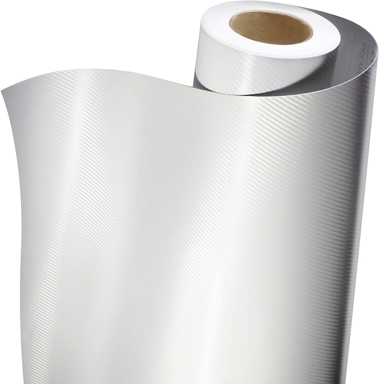 Premium Carbon Fiber Vinyl Wrap Film White, 1ft x 5ft VViViD