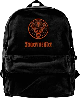 Jonniesies Jagermeister Unisex Fashion Black Backpack Canvas School Bag Casual Travel Bag