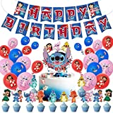 Lilo and Stitch Birthday Party Decorations for Kids, Lilo and Stitch Party Supplies Inclouding Happy Birthday Banner and Cake Toppers Latex Balloons Combination Children's Party Favors