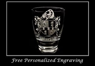 Murphy Family Coat of Arms Clear Lowball Rocks Glass - Free Personalized Engraving, Celtic Decor, Irish Glass