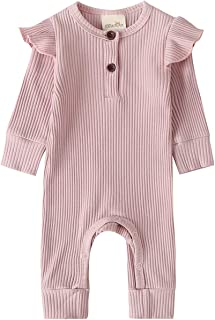 Newborn Infant Unisex Baby Boy Girl Button Solid Romper...
