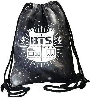 Flyself Unisex BTS Drawstring Bag Kpop Bangtan Boys Travel and School Shoulder Rucksack Suitable for Adults and Kids