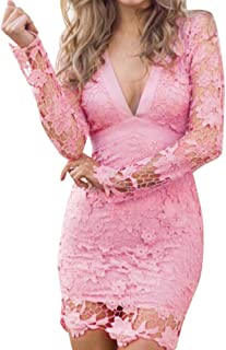 Women Dress Daoroka Women's Deep V Neck Backless Lace Bodycon Cocktail Ladies Club Evening Party Evening Mini Skirt Floral New Fashion Long Sleeve Casual Slim Above Knee Solid Dress (S, Pink)