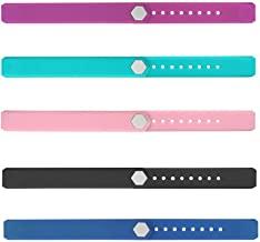REDGO ID115 ID 115 115HR Replaceable Strap Length Adjustable for Smart Bracelet Fitness Tracker, Set of 5, Black/Purple/Teal/Pink/Blue