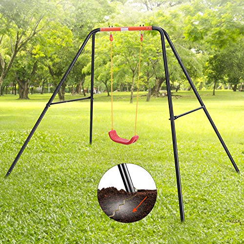 MaxKare Swing Single Set Metal Outdoor Heavy Duty for Kids Child Toddler 100 lbs Weight 1-12 Years Old Backyard Playground