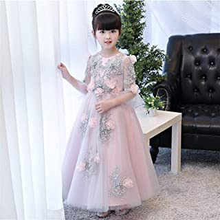 Luxury Yarn Flower Girl Dress Girls Dress Princess Wedding Dress Girls Tutu Princess Dress Small Children Catwalk Moderator Piano Performance Clothing ryq (Color : Pink c, Size : 120cm)