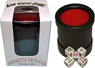 Cyber-Deals Las Vegas Style Premium Dice Cup (Black/Red) with (5) 16mm Dice