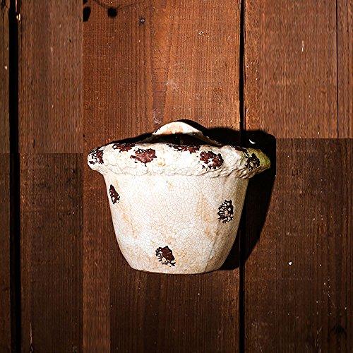 Sungmor Ice-Crack Geglazuurde Keramische Plant Potten, Hoge kwaliteit Multi-kleur Opknoping Planter, Muur & Hek Decor Bloempotten Size:26cmL*12.5cmW*20.5cmH Beige