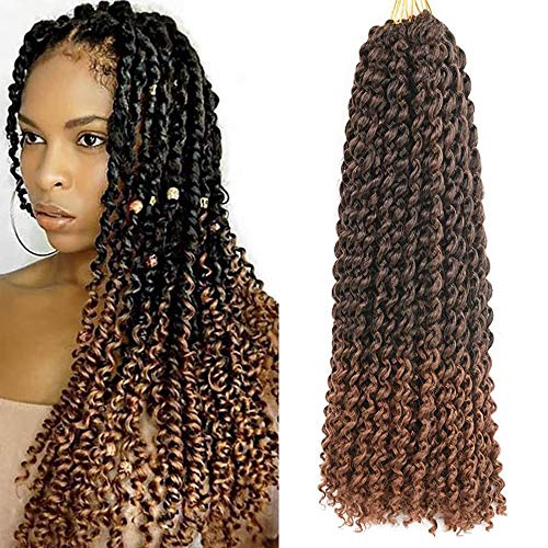 8 Packs Passion Twist Hair 18 Inch Passion Twist Crochet Hair For Butterfly Locs Ombre Water Wave Crochet Braiding Hair Extensions (1B/30)