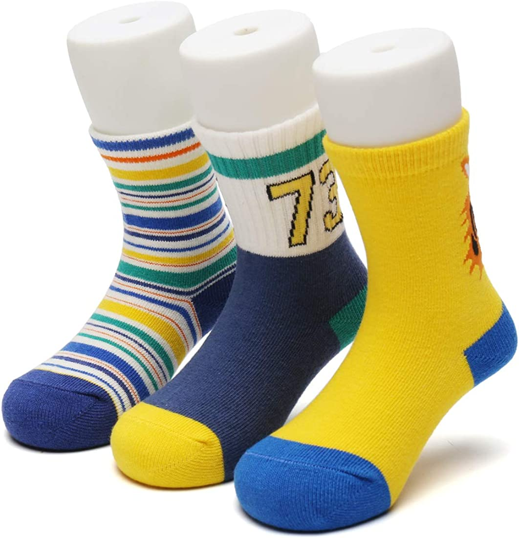 Toddler & Kids Socks for Girls & Boys - Moderately Thick, Warm & Soft Cotton Crew Socks, Pack of 3 (Tiger, 2-4 Years)