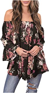 ManxiVoo Women Floral Print Tops Off Shoulder Flare Sleeve Shirt Blouse T-Shirt for Ladies